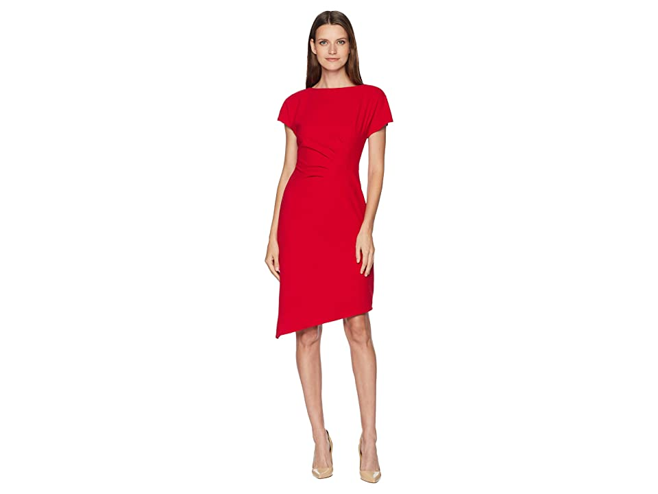 Tahari by ASL Short Sleeve Crepe Sheath with Side Ruching (Red) Women
