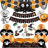 Hook Halloween Deko Kinder Set,Happy Halloween Deko Kinderparty Girlande Große Fledermaus, Kürbisse und Spinnen Wimpelgirlande, Grusel Fotorequisiten, Ballons für Halloweenparty Kinder