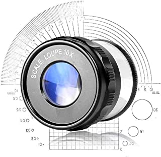 Magnifier Handheld Illumination Magnifying Glass 10X HD Lens for with Scale Measurement Identification Wenwan Jewelry Cyli...