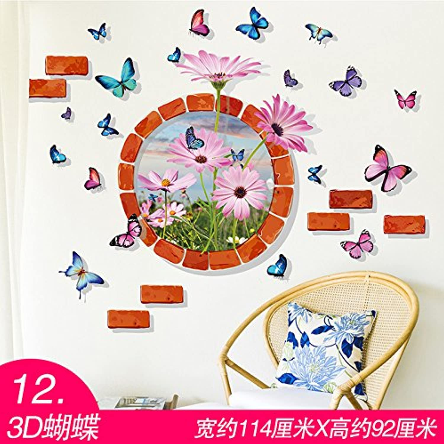 Znzbzt 3D Wallpaper self Adhesive Bedroom Wall Decoration Wall Sticker Wall Posters, Butterfly