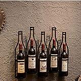 SYOSY Portabottiglie da Parete Portabottiglie in Ferro battuto portabottiglie Portabottiglie da Parete per Vino 5 Bottiglie,Nero