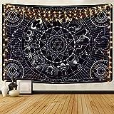 Alishomtll Sterne Konstellation Wandteppich Sonne Mond Totem Wandbehang Tapisserie Tierkreis Killstar Symbol Wandtuch Himmlische Astrologie, 210 x 150 cm Schwarz