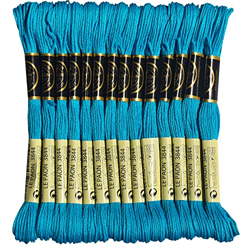 LE PAON Embroidery Floss, 14-Pack Six Strands 100% Long Staple Cotton Embroidery Thread, 8.7-Yard,Color Number:3844,Dark Bright Turquoise