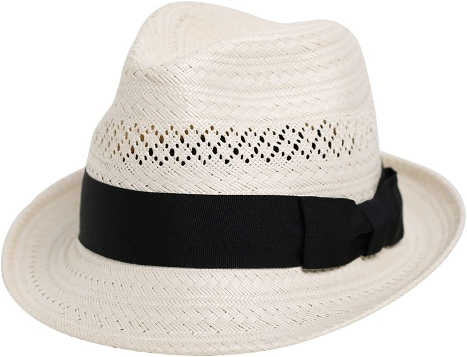 Vaevanhome Lightly Do Not Press The Hair To Cross The Hand-Woven Straw Hat, Adjustable, White