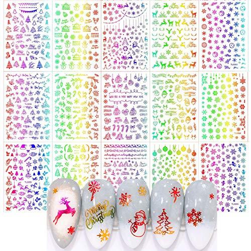 MWOOT Adesivo Unghie Natale (16 Fogli), Adesivi Decalcomanie per Decorazione delle Unghie - Christmas Nail Art Sticker
