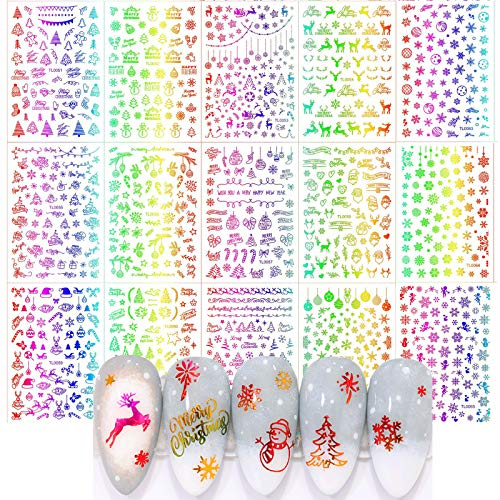 MWOOT Weihnachten Nailart Sticker, 16 Stück Selbstklebend Nagelsticker, DIY Nagelkunst Nageldeko Aufkleber Folien - Christmas Nail Sticker Set