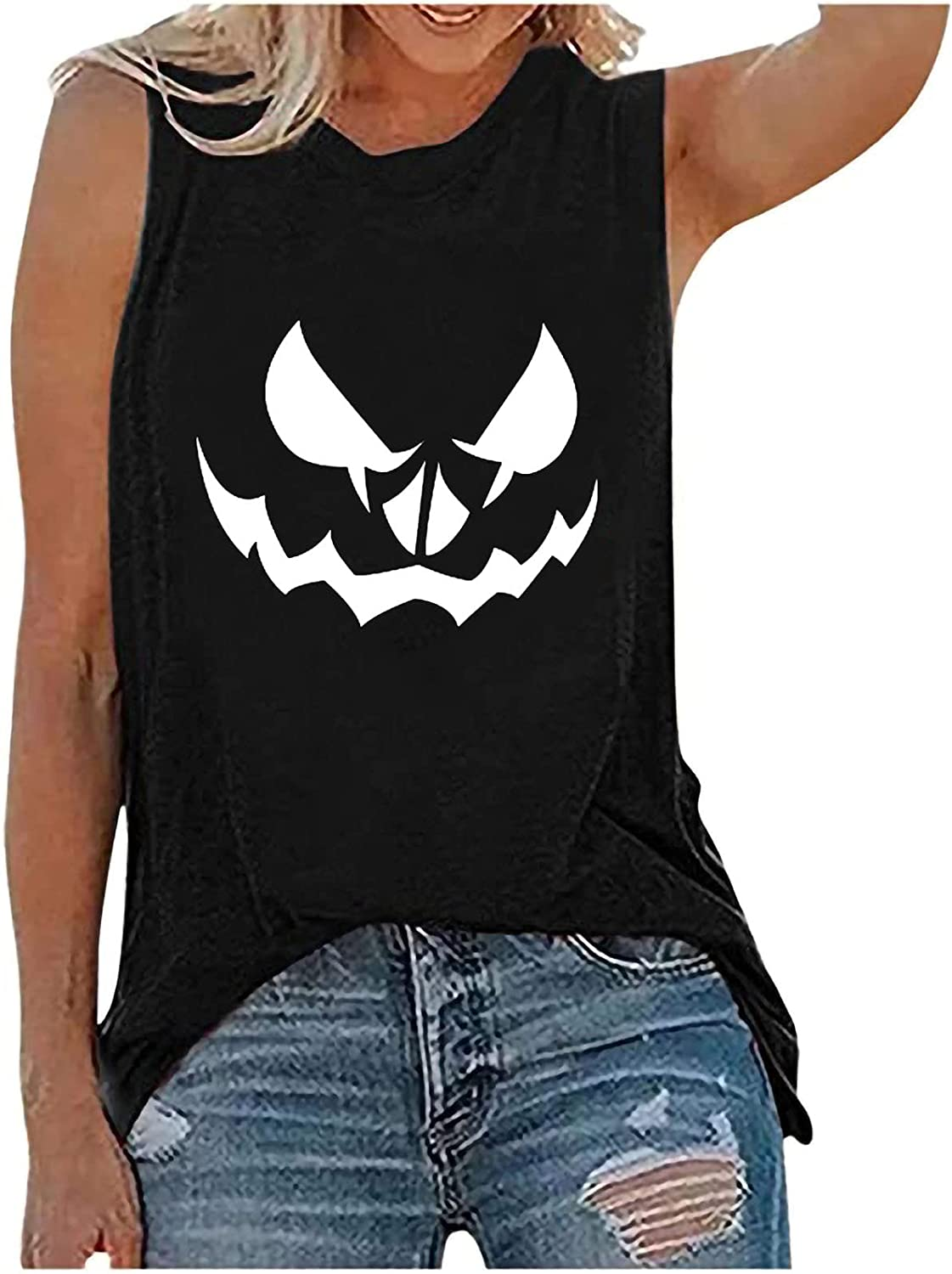 Women Summer Tops Women's Blouse Halloween Loose-Fitting Vest Funny Print Round Neck Blouse