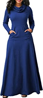 Women Cowl Neck Maxi Dress Long Sleeve Casual Pocket Dresses