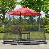 Filet de parasol anti-moustique pour terrasse avec ouverture à fermeture éclair et base fixe