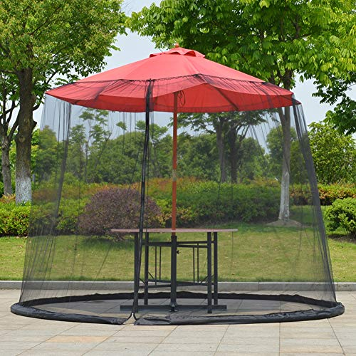 HilMe Umbrella Net Cover Screen,Outdoor Garden Umbrella Table Screen Parasol Mosquito Net Cover 300x230cm,Mesh Enclosure Cover for Patio Deck Furniture With Zipper