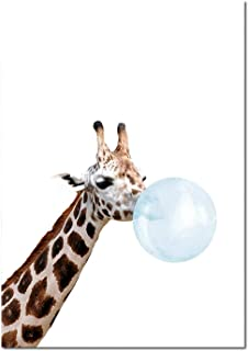 Cloudy Clouds Baby Animal Blue Bubble Poster Nursery Canvas Wall Art Print Zebra Giraffe Painting Nordic Kids Decoration Picture Bedroom Deco,20X25Cm Unframed,Picture 3
