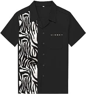 Candow Look Hombres Camisa de Plant Pattern Impresa de los Casual Shirts
