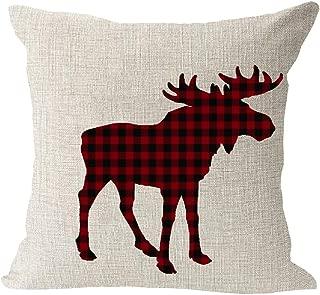 Animal Moose Red and Black Chess Plaid Scottish Buffalo Cotton Linen Square Throw Waist Pillow Case Decorative Cushion Cover Pillowcase Sofa 18