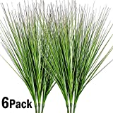 27' Artificial Plants Onion Grass Greenery Faux Fake Shrubs Plant Flowers Wheat Grass for House Home Indoor Outdoor Office Room Gardening Indoor Décor 6 Pack
