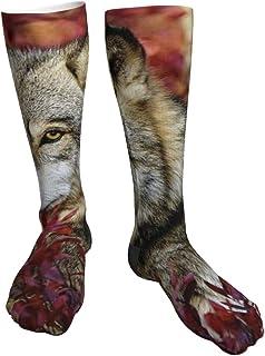 tyui7, Calcetines de compresión para mujeres y hombres Calcetines gruesos con tacón de lobo: ideales para correr, deportes atléticos, viajes en avión, embarazo, fútbol