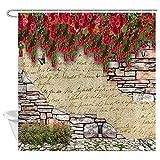 EdCott Dekoratives Muster aus antiken Blumen & Marmor Ziegelwand Wand Zimmer Home leicht zu reinigen Duschvorhang für Badezimmer Badezimmer Hotel Vorhang
