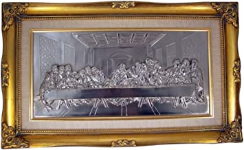 Trinity Church Supply The Last Supper of Jesus Christ Portrait Silver Relief in Gold Leaf Wood Frame