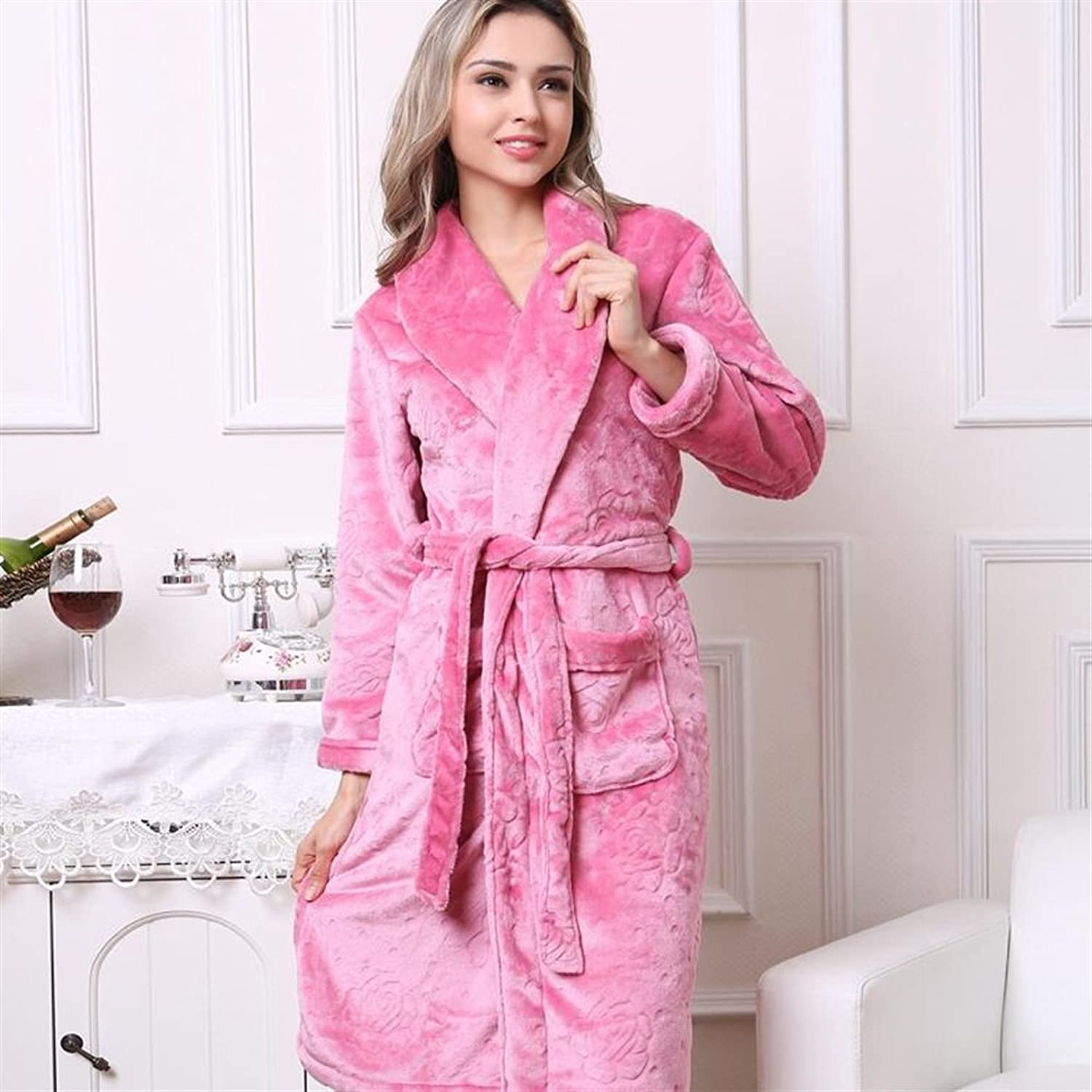Soft Cozy Couple Flannel Printed Bathrobe Robe Nightgown Pajamas Dressing Gowns Bathrobe for Women (color   Rosy, Size   XL)