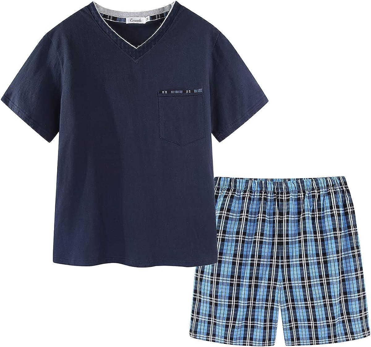 CHUNG Men's Short Sleeve T-shirt Tartan Boxer Shorts Bottom Set Cotton V-neck Pajamas Pjs Lounge Sleepwear Wear Summer