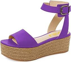 FSJ Women Chic Open Toe Platform Wedge High Heel Espadrilles Sandals Ankle Strap Casual Summer Shoes Size 4-15 US