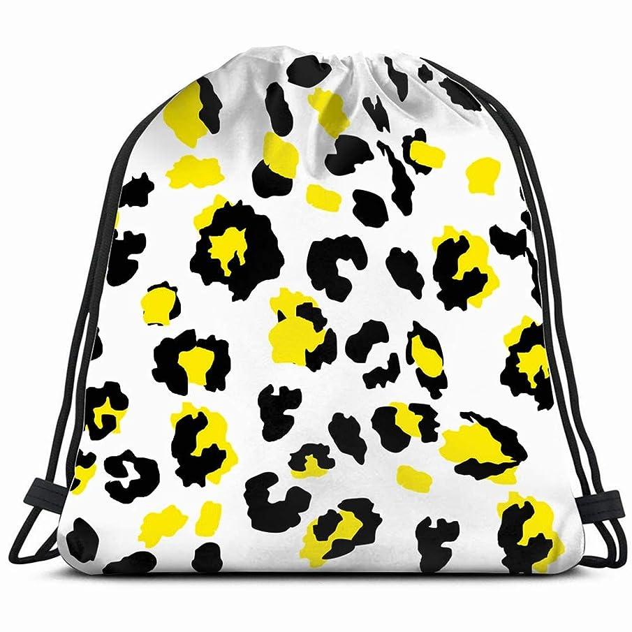 leopard pattern design 3D Print Drawstring Backpack Rucksack Shoulder Bags Gym Bag 17X14 Inch
