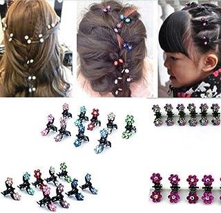 HOME REPUBLIC 12 Pcs Women's Girl's Mini Crystal Flower Hair Claw Clamp Hair Clip Pin Hair Accessory