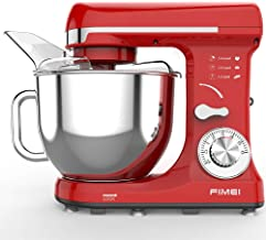 FIMEI Stand Mixer, Kitchen Mixer 550W, 6-Speed Dough Mixer Dough Maker, 5L Bowl with Anti-Oil Cover, Splash Guard (Dough Hook and Beater with Ceramic Glaze, Whisk), Noise 75 db, Anti-Slip (Red)