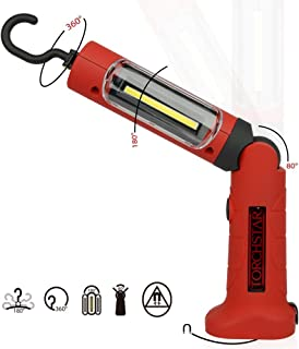 Portable Cordless Rechargeable LED Work Light Work Lamp w/Hanging Hook, Magnetic Base, Car Charger, UL-Listed Power Supply for Workshop, Garage, Camping, Emergency Lighting RWL-07