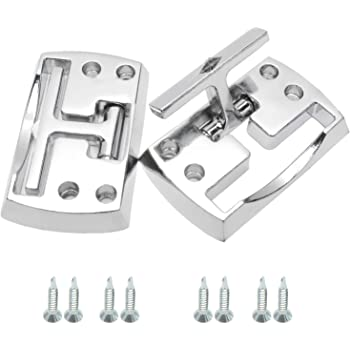 NovelBee 2 Pack of Chrome Fold Away Rope Hook with Mounting Screws,Folding Truck Tie Down Anchor for Car Boat (White)