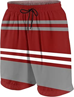 Men's Red Grey and White Stripe Swim Trunks Summer Surfing Beach Shorts Pants Quick Dry with Pockets