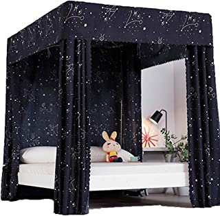 Obokidly Princess 4 Corner Post Bed Curtain Canopy;Windproof Lightproof Bed Canopy Mosquito Net Bedroom Decoration for Adults Girls Bed Canopies Child Gift (Black-Star, Queen)