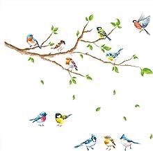 decalmile Muurstickers Vogels op Boom Tak Muurtattoo Groene Bladeren Wanddecoratie Slaapkamer Huiskamer Kantoor