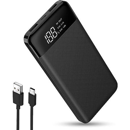VEGER Powerbank Batería Portátil Pila 10000 mAh, Power Bank Carga Rápida Batería Externa con Pantalla LED Indicador, Compatible para Android iPhone con USB, Banco de Energía 2 Salidas -Negro