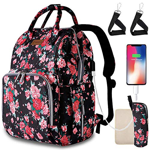 Diaper Bags for Baby Girl,Floral Baby Bag with USB Charging Port Stroller Straps Insulated Pocket and Changing Pad for Women/Girls/Mum/Toddler by Qwreoia (Red Flower Pattern)