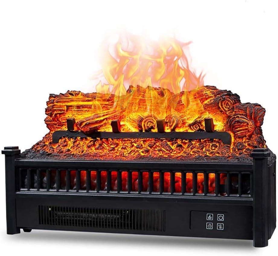 WYZXR Eternal Flame Chimenea eléctrica calefacción de leña Inserto de Chimenea eléctrica Cuarzo de Madera Calentador de Ventilador de Cama de brasas Realista con Control Remoto Negro