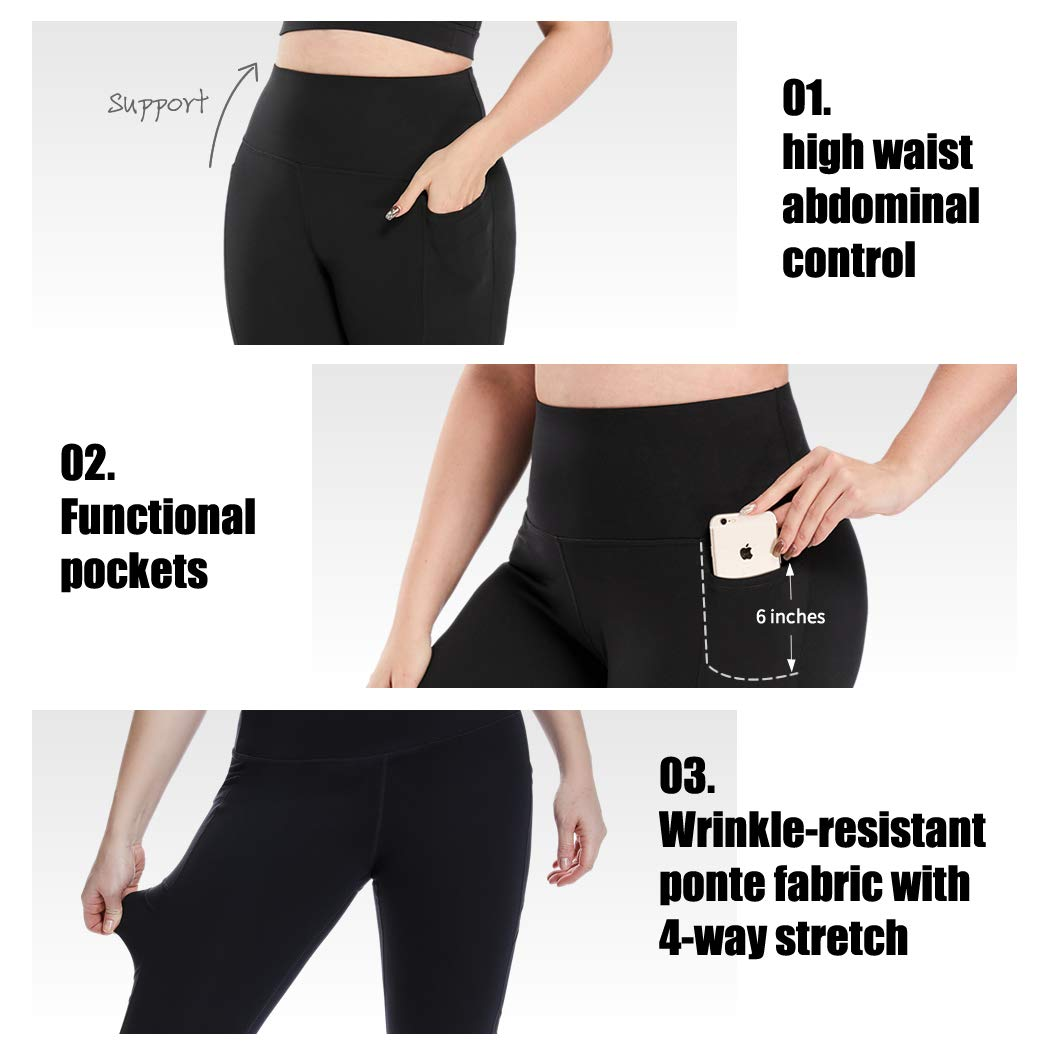 YOHOYOHA Plus Size Leggings High Waist Athletic Workout Yoga Pants Pockets Womens Tummy Control Best Thick Long
