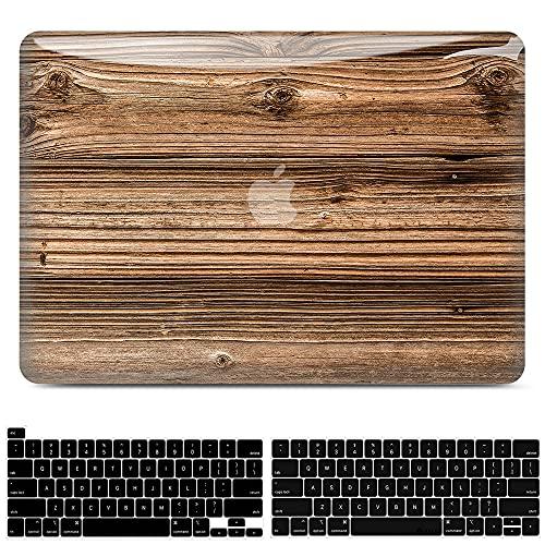 JGOO Hülle Kompatibel mit MacBook Pro 13 Zoll 2020-2016 Release A2338 M1 A2289 A2251 A2159 A1989 A1706 A1708 Touch Bar, 3D Glattem Holz Hartschale Schutzhülle mit Tastaturabdeckung