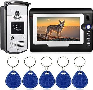 VAVE Sistema de Puerta de Entrada de Video de 7 Pulgadas Timbre con 1 cámara 1 Monitores Tarjeta de identificación ID de visión Nocturna videoportero Impermeable Kit