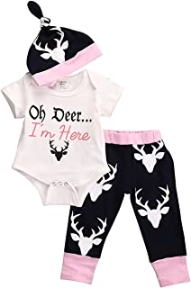 Lily.Pie Baby Infant Girls Cute Bodysuits with Leggings and Hat 3pcs/4pcs Outfit Clothes