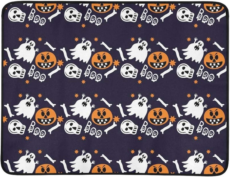 Halloween Ghosts Skulls Bones Pumpkins Portable and Foldable Blanket Mat 60x78 Inch Handy Mat for Camping Picnic Beach Indoor Outdoor Travel