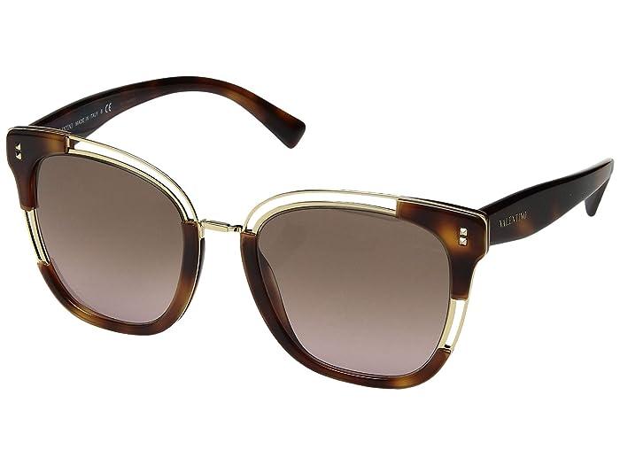 Valentino 0VA4042 (Havana Gold/Gradient Brown Violet) Fashion Sunglasses