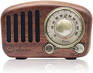 ポータブルラジオ 高感度 ワイドfm ブルートゥーススピーカー ラジオ 小型 充電式 AOOEOU Bluetooth スピーカー 重低音 fm ラジオ レトロ コンパクト 木製ラジオ 木目調 クルミ材
