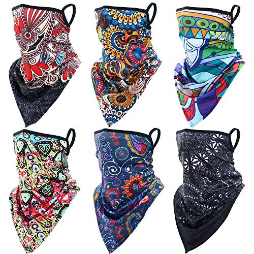 YOUSNPING 6 Pieces Outdoor Lightweight Face Mask Scarf American Flag Neck Gaiter Cover Ear Loops Sun Dust Windproof Cooling Washable Bandana Headwear for Men Women Motorcycle Hiking Cycling Running 07