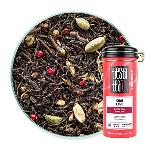 Tiesta Tea | Chai Love, Loose Leaf Spiced Masala Chai Black Tea | All Natural, High Caffeine, No Added Sugar, Energize | Cardamom and Ginger | Chai Tea Latte | 4oz Tea Tin - 50 Cups | Spiced Chai Tea
