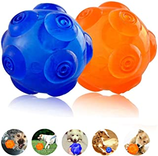 Unicool Squeaky Toys Dog Interactive Ball Durable Soft Non-Toxic Rubber Squeeze Bouncey Ball for Aggressive Chewers,Kick and Fetch Ball for Medium Large Dog [Floatable on Water,3Inch/3.5Inch]