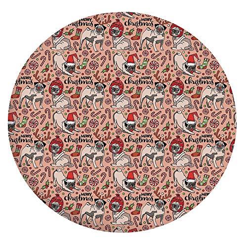 Cubierta de mesa ajustable de poliéster con bordes elásticos, para celebrar la imagen de comedia navideña, cuernos de caramelo, para mesas redondas de 142 a 152 cm, perfecto para protección de mesa