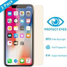 Anti-Blue Light Tempered Glass Screen Protector for iPhone X and iPhone Xs (Transparent, 3 Packs) 0.20mm Tempered Glass Screen Protector Advanced Resolution 99.9% Touch Accurate by Alongza