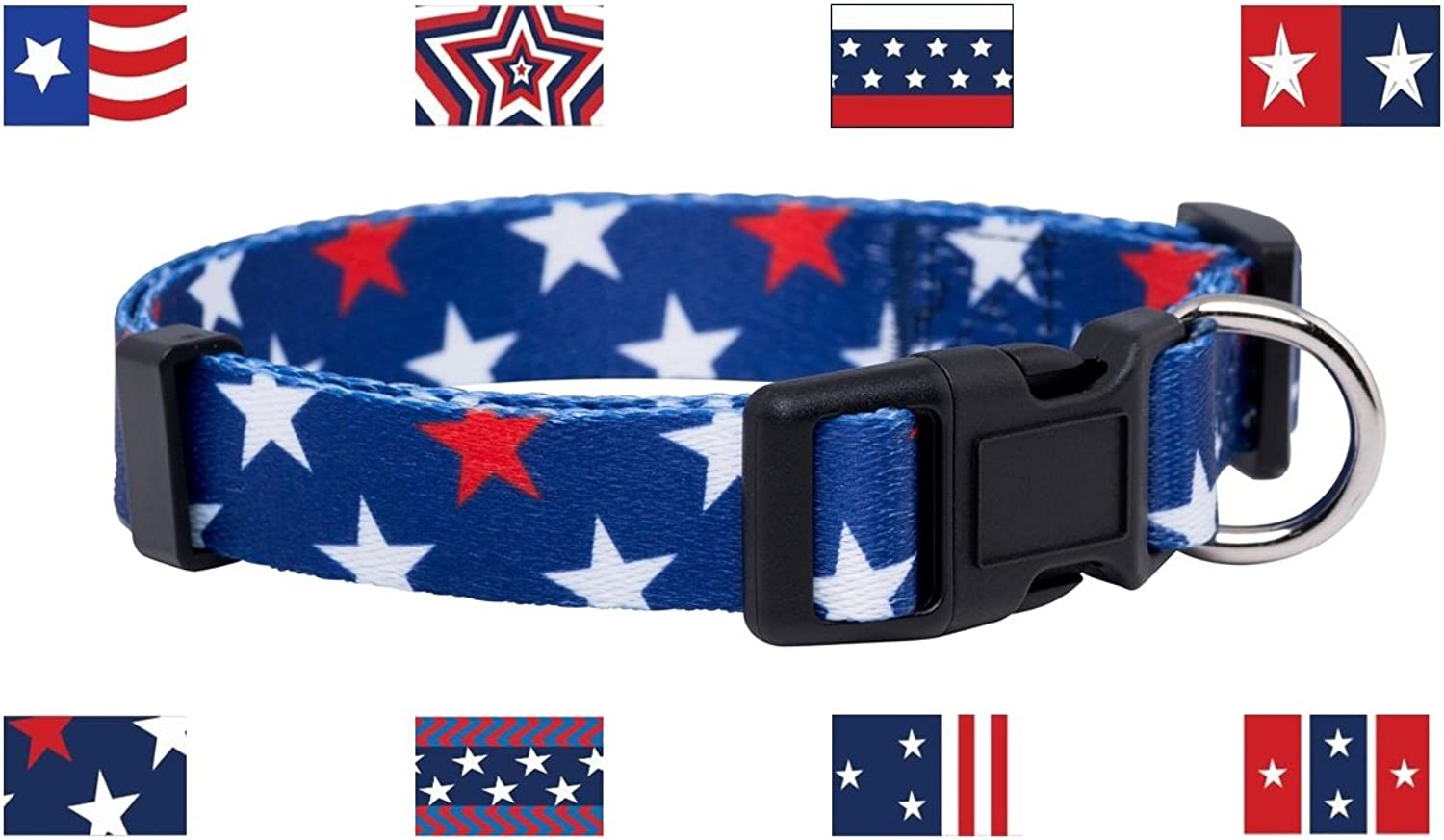 Native Pup American Flag Dog Collar (Large, & Stars) Red White