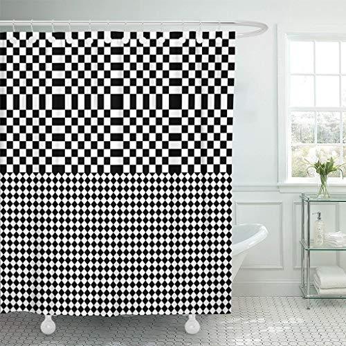 Cortina de baño Bauhaus Negro Blanco Cuadrados y Rombos Óptico Alter