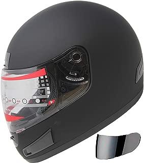 Motorcycle Street Sport Bike Helmet Full Face Helmet FF98 2 Visors Comes with Clear Shield and Free Dark Tinted Shield (Matt Black, M)